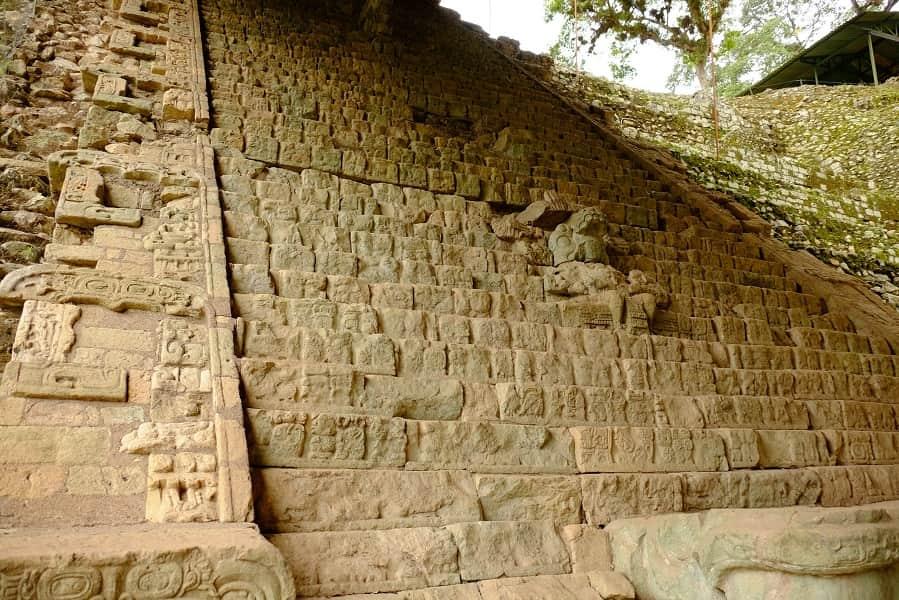 Поездка в Гондурас. Копан. Древняя лестница с иероглифами